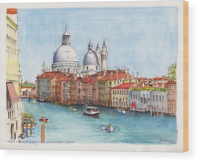 Venice Wood Print featuring the painting Grand Canal And Santa Maria Della Salute Venice by Dai Wynn