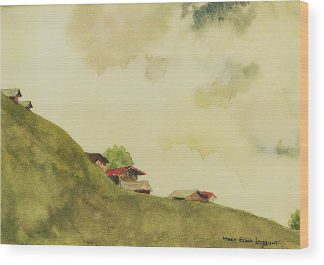 Swiss Wood Print featuring the painting Grindelwald Dobie Inspired by Mary Ellen Mueller Legault