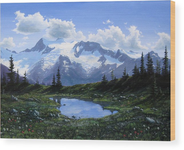 Pond Wood Print featuring the painting Jumbo Pass Pond by Ian Henderson
