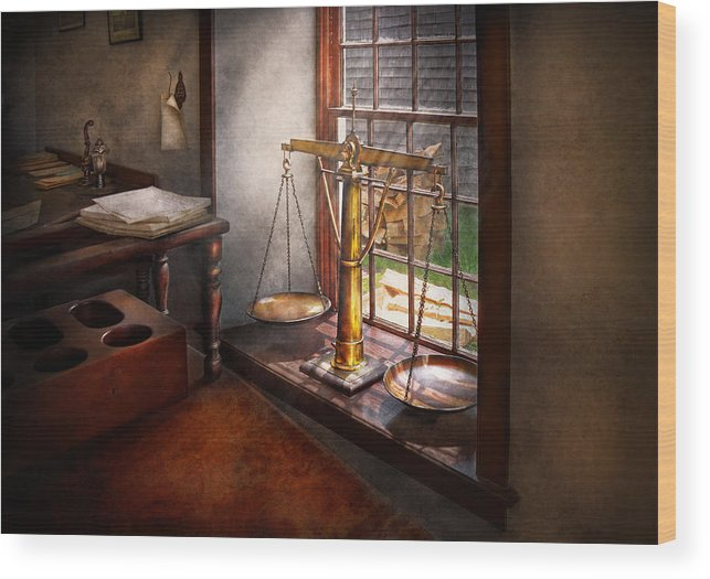 Hdr Wood Print featuring the photograph Lawyer - Scales Of Justice by Mike Savad