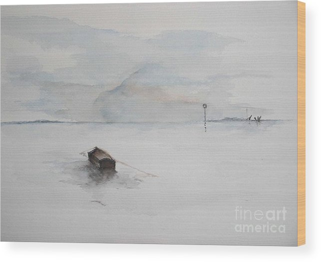 Boat Wood Print featuring the painting Lonely Mooring by Sibby S