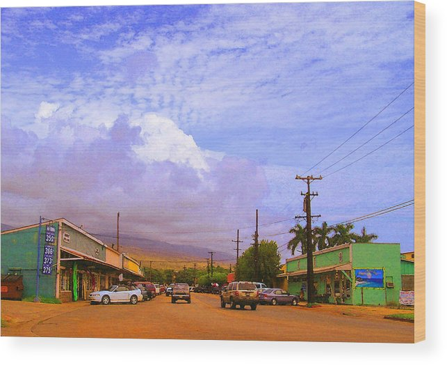 Kaunakakai Wood Print featuring the photograph Main Street Kaunakakai by James Temple