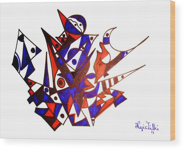 Abstract Wood Print featuring the drawing Mask by Nafiz Tilki