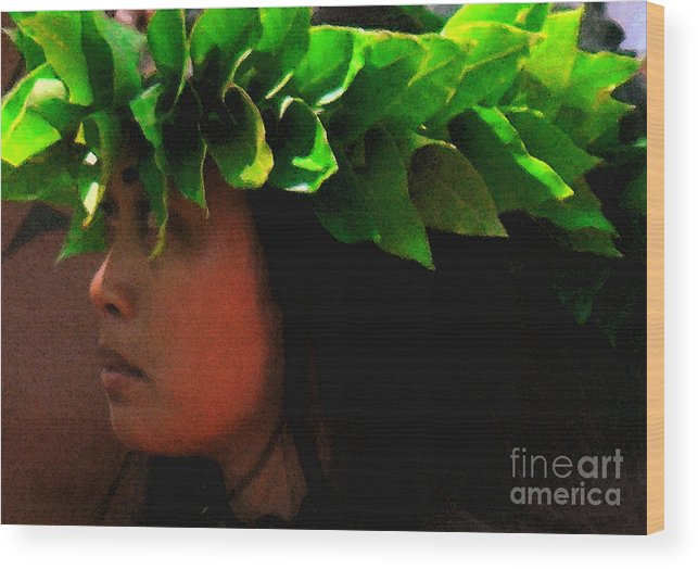 Hula Wood Print featuring the photograph Molokai Wahine Dancer by James Temple