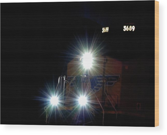 Trains Wood Print featuring the photograph Night Train - Union Pacific Train Engine by Steven Milner