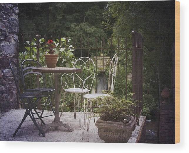 France Wood Print featuring the photograph Patio Les Cascades Durfort France by Greg Kluempers