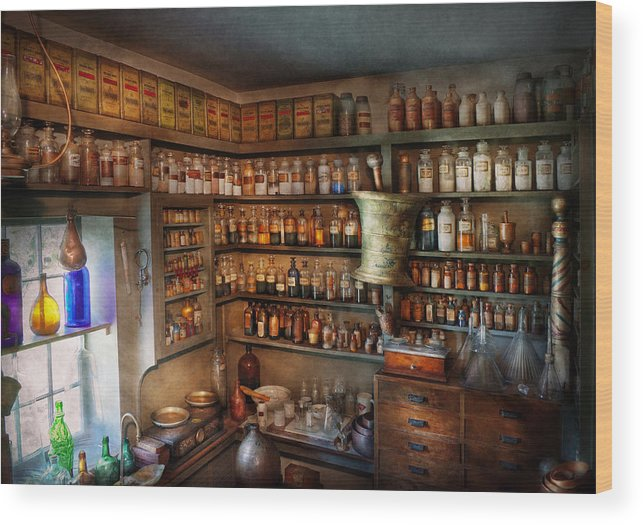 Hdr Wood Print featuring the photograph Pharmacy - Medicinal Chemistry by Mike Savad