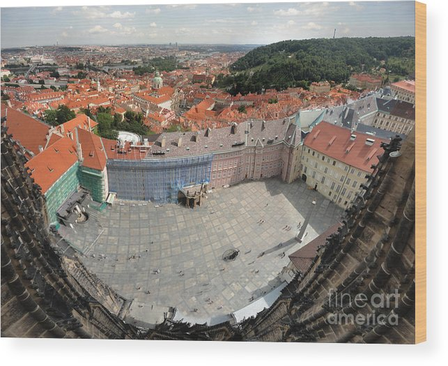 Wood Print featuring the photograph Prague - View From Castle Tower - 08 by Gregory Dyer