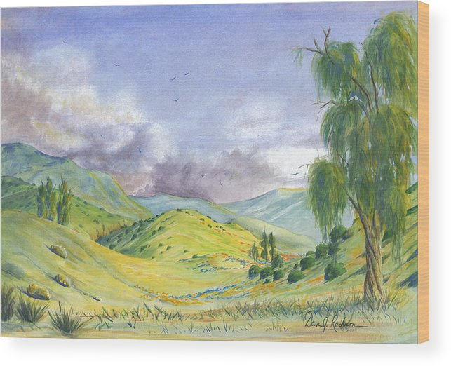 Yellow Wood Print featuring the painting Spring In The Corona Hills by Dan Redmon