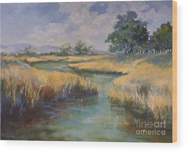 Summer Wood Print featuring the painting Summertime by Elizabeth Lazeren