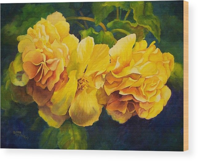 Floral Wood Print featuring the painting Sun Kissed Yellow Begonias by Michele Thorp