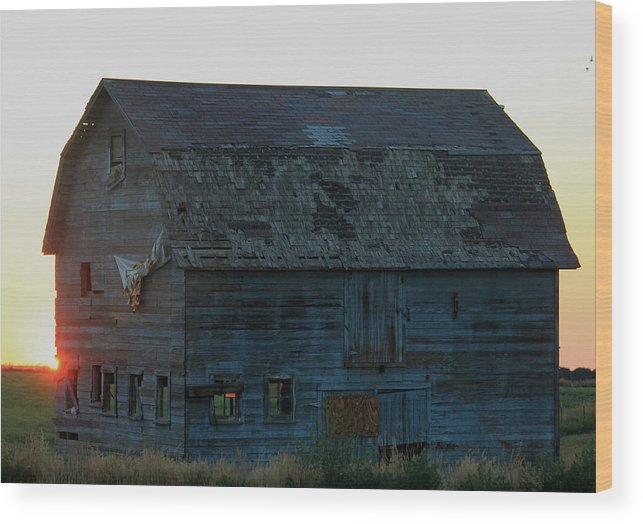 Old Wood Print featuring the photograph Tattered Barn Sunrise by Trent Mallett