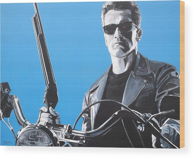 Terminator Wood Print featuring the painting Terminator I'll Be Back by Patrick Killian