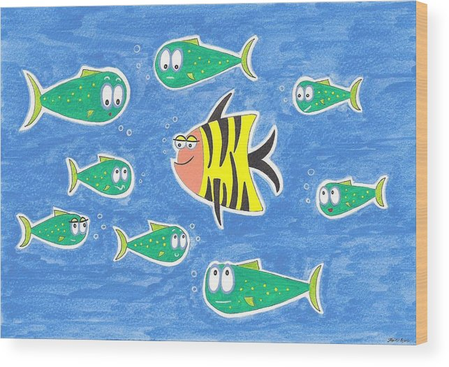 Fish Wood Print featuring the painting The Odd One Out by Heidi Bjork