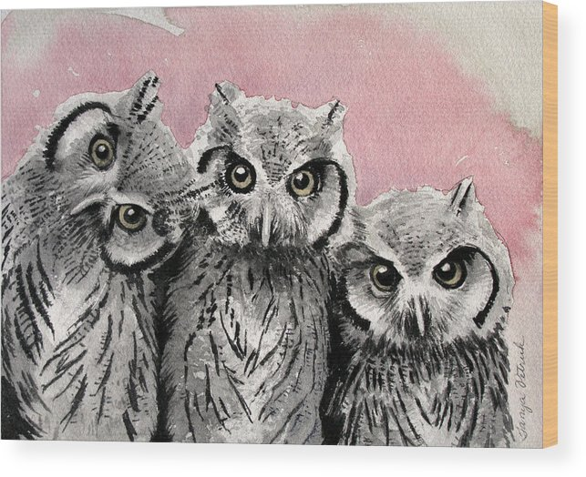 Owls Wood Print featuring the painting Three Wise Owls by Tanya Petruk