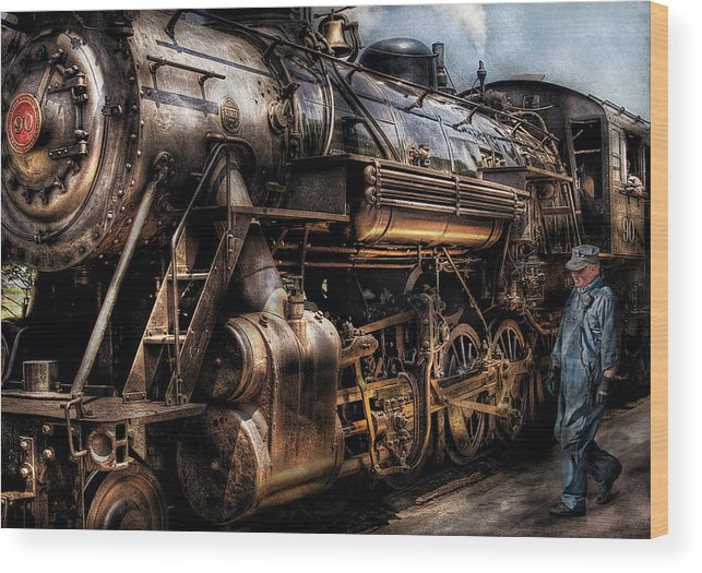 Savad Wood Print featuring the photograph Train - Engine - Now Boarding by Mike Savad