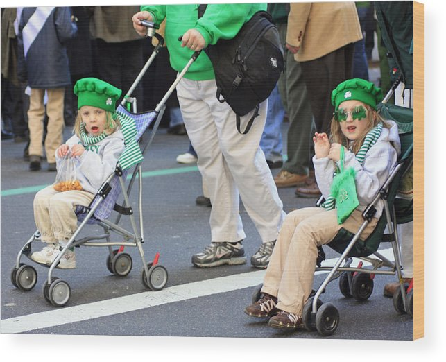 People Wood Print featuring the photograph Two Young Girls Marching In The 2009 New York St. Patrick Day Parade by James Connor