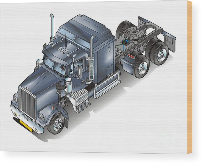 Truck Wood Print featuring the painting Western Star Tuck by Christian Simonian