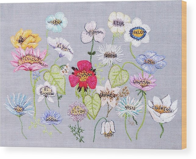 Flower Wood Print featuring the tapestry - textile What's In A Flower by Stephanie Callsen