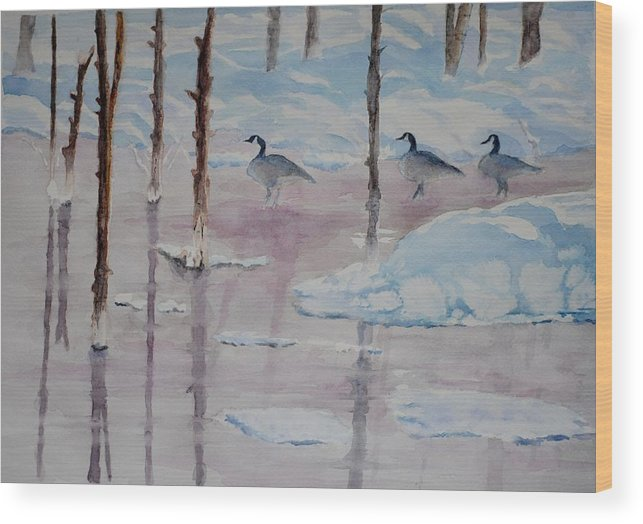 Yellowstone Park Wood Print featuring the painting Yellowstone's Geese by Diana Prout