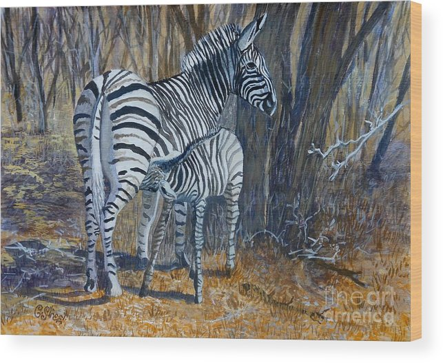 Zebra Wood Print featuring the painting Zebra Mother And Foal by Caroline Street