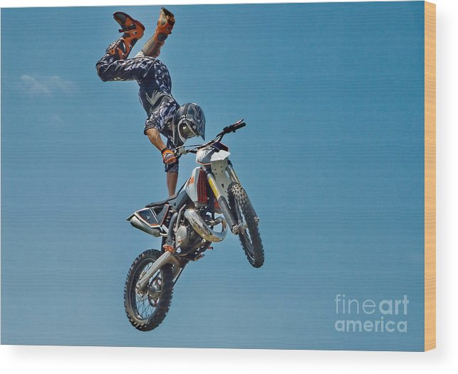 Motorcycle Wood Print featuring the photograph Crazy Motorcycle Rider by Andrea Kollo