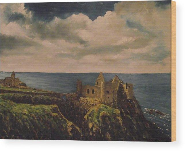 Dunluce Castle Wood Print featuring the painting Dunluce Castle by Robert Gary Chestnutt