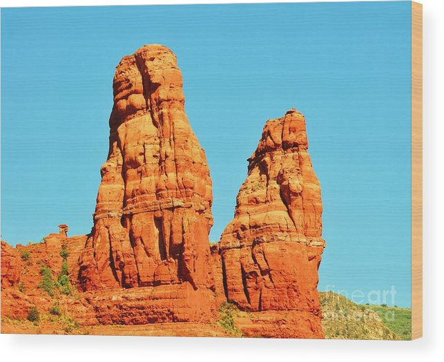 Sedona Wood Print featuring the photograph Faces In The Red Rock Towers by George Sylvia