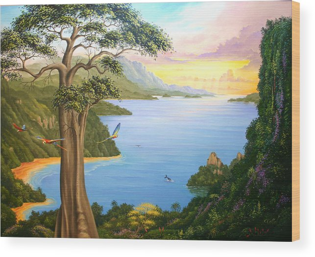 Landscape Wood Print featuring the painting Magic Of The Osa by Hans Doller
