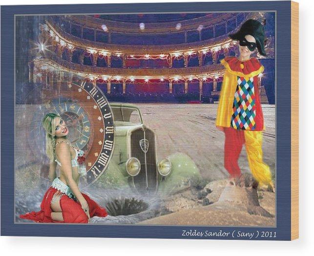 Theater. Harlequin Wood Print featuring the digital art Stege by Zoldes Hampel Sandor
