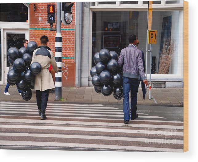 Balloons Wood Print featuring the photograph Stripes And Balls by Andrea Simon