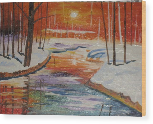 Sunrise Wood Print featuring the painting Sunrise by Gnana Prakash Neel