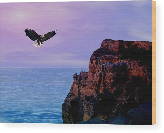 Eagle Wood Print featuring the digital art I'm Free To Fly by Evelyn Patrick
