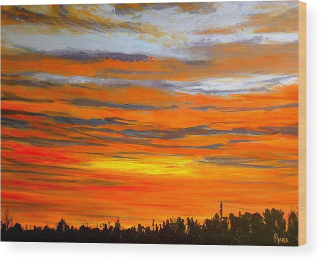 Sunrise Wood Print featuring the painting Mornin by Pete Maier