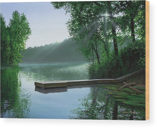 Cross Religious Christian Faith Landscape Inspirational Wood Print featuring the painting The Cross And The Light by Anthony J Padgett
