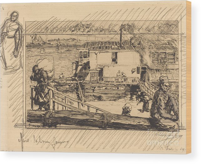 Wood Print featuring the drawing The Wash-house (le Lavoir) by Auguste Lep?re