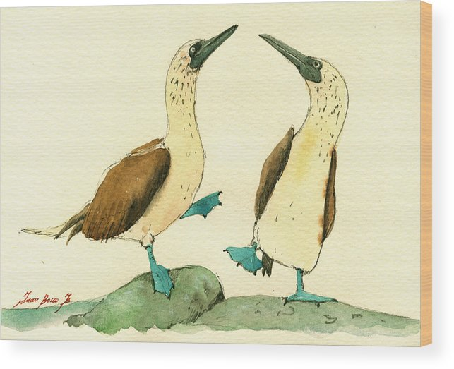 Blue Footed Boobies Wood Print featuring the painting Blue Footed Boobies by Juan Bosco