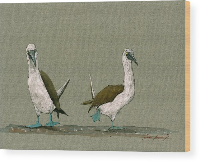 Blue Footed Boobies Wood Print featuring the painting Blue Footed Boobies 3 by Juan Bosco