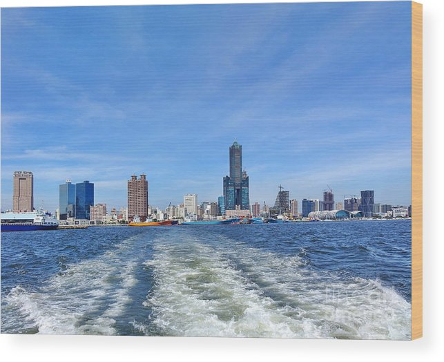 Harbor Wood Print featuring the photograph Panoramic View Of Kaohsiung City by Yali Shi