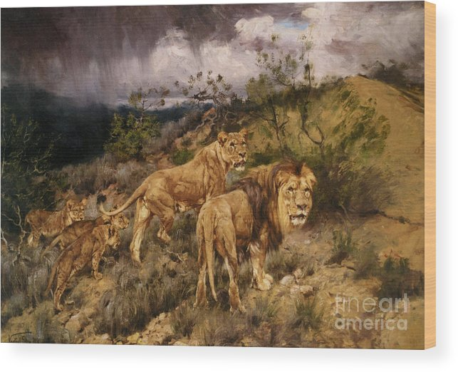 G�za Vastagh (hungarian Wood Print featuring the painting A Family Of Lions by MotionAge Designs