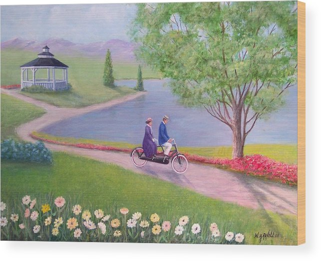 Landscape Wood Print featuring the painting A Ride In The Park by William H RaVell III