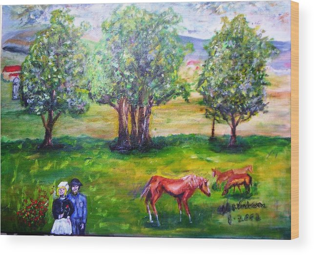 Landscape Horses Lovers Wood Print featuring the painting Amish Courtship At Berlin Ohio by Alfred P Verhoeven