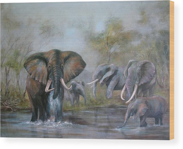 Wildlife Wood Print featuring the painting At The Waterhole by Rita Palm