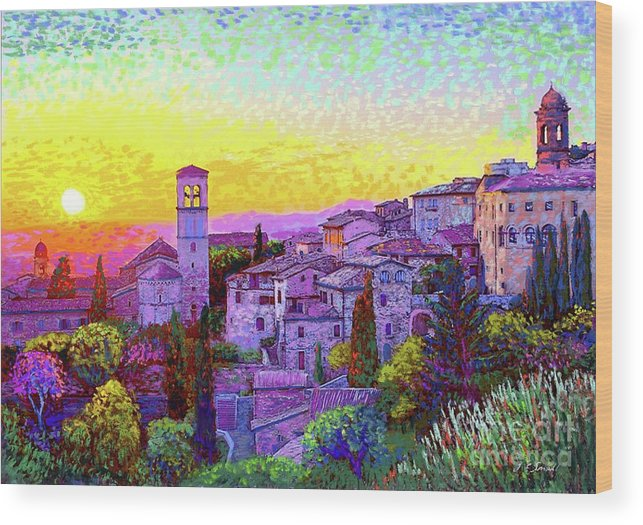Italy Wood Print featuring the painting Basilica Of St. Francis Of Assisi by Jane Small