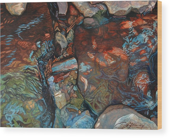 Rocks Wood Print featuring the painting Blue Current by Craig Gallaway