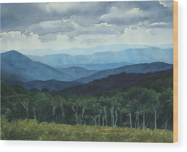 Blue Ridge Mountains Wood Print featuring the painting Blue Ridge From Grassy Bald Study by Craig Gallaway