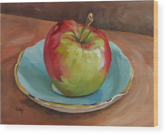 Still Life Wood Print featuring the painting Blue Saucer With Apple by Cheryl Pass