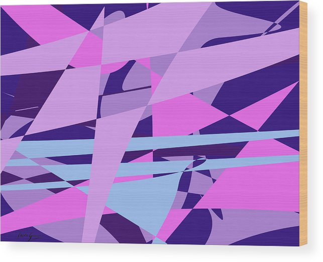 Abstract Wood Print featuring the digital art Brain Storming by Laura Greco