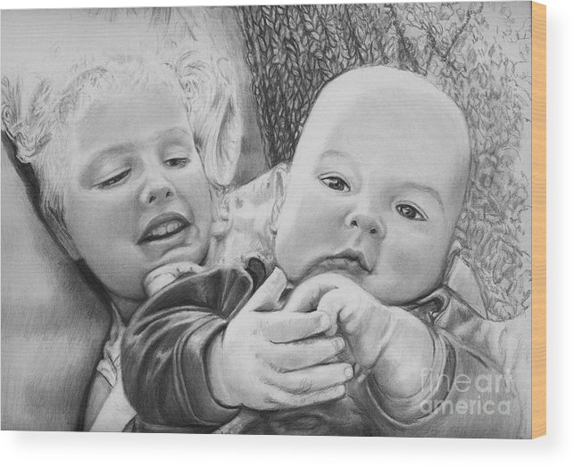 Babies Wood Print featuring the drawing Brynn And Austin by Carliss Mora