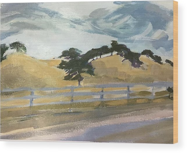 Oaks Wood Print featuring the painting California East Bay Oaks by Janis Commentz